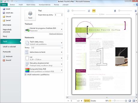 Nastavenie tlače sa dá upraviť aj pri prezeraní veľkej ukážky publikácie pred tlačou.